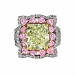Pager to activate Natural Fancy Intense Yellow Green Diamond Ring
