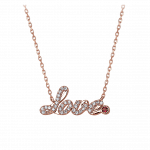 Pager to activate Smaller Rose Gold Pave Love Necklace