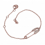 Pager to activate Rose Gold Diamond Single Safety Pin Bracelet