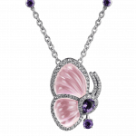 Pager to activate Papillon Necklace with Pink Quartz