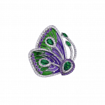 Pager to activate PURPLE CATHEDRAL PAPILLON RING