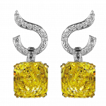 Pager to activate Fancy Intense Yellow Diamond Drop Earring