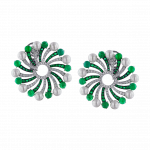 Pager to activate Infinia Pearl Cabochon Emeralds Earrings