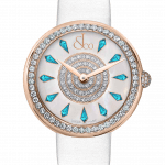 Pager to activate Brilliant One Row Rose Gold Icy Blue Sapphires 38mm