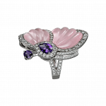 Pager to activate Pink Quartz Papillon Ring