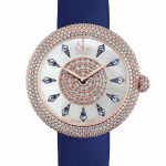 Pager to activate Brilliant Half Pave Rose Gold Blue Sapphires 38mm