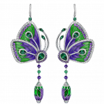 Pager to activate PURPLE CATHEDRAL PAPILLON EARRINGS