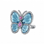 Pager to activate Blue Topaz Papillon Ring