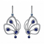Pager to activate Short Blue Sapphire Papillon Earrings