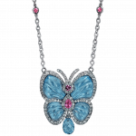 Pager to activate Papillon Necklace with Blue Topaz Small
