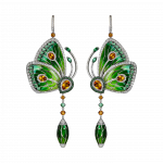 Pager to activate Rain Forest Green Topaz Papillon Small Earrings