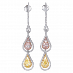 Pager to activate Two Strand Pink and Yellow Diamond Earrings