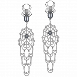 Pager to activate White Gold Earrings with Black Pearls
