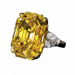 Pager to activate Fancy Intense Yellow Emerald Cut Diamond Ring