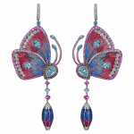 Pager to activate Pink and Blue Cathedral Papillon Earrings