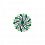 Pager to activate Infinia Pearl Cabochon Emeralds Ring