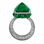 Pager to activate Colombian Emerald Cocktail Ring