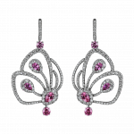 Pager to activate Short Pink Tourmaline Papillon Earrings