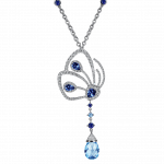 Pager to activate Papillon Necklace with Blue Sapphire