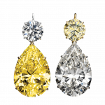 Pager to activate Magnificent Yellow and White Diamond Drop Earrings
