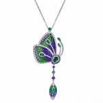 Pager to activate PAPILLON NECKLACE WITH PURPLE CATHEDRAL ENAMEL WINGS
