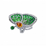 Pager to activate GREEN TOPAZ PAPILLON RING