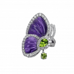 Pager to activate Amethyst Papillon Ring