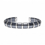 Pager to activate Hematite Cuff Bangle 17 Stainless Steel Bars