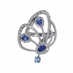Pager to activate Blue Sapphire Papillon Ring