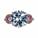 Pager to activate Fancy Dark Grey and Pink Three-Stone Diamond Ring