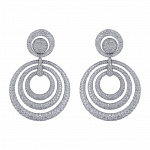 Pager to activate Titanium Glam White Diamond Circular Earrings