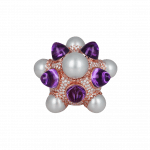Pager to activate Rose Gold Pearl and Amethysts Ring