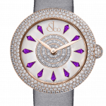 Pager to activate Brilliant Half Pave Rose Gold Amethyst Sapphires 44mm
