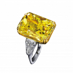Pager to activate Fancy Intense Yellow Radiant Cut Diamond Ring