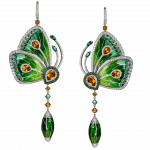 Pager to activate Rain Forest Green Topaz Papillon Large Earrings