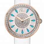 Pager to activate Brilliant One Row Rose Gold Icy Blue Sapphires 44mm