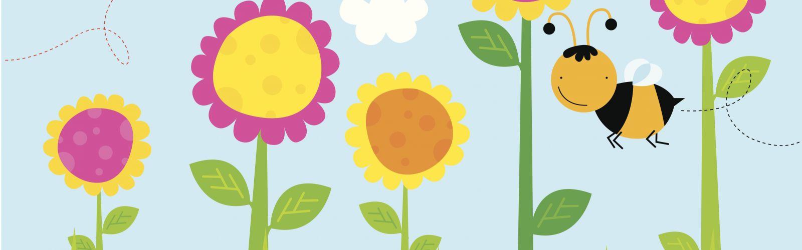 cartoon bugs and flowers