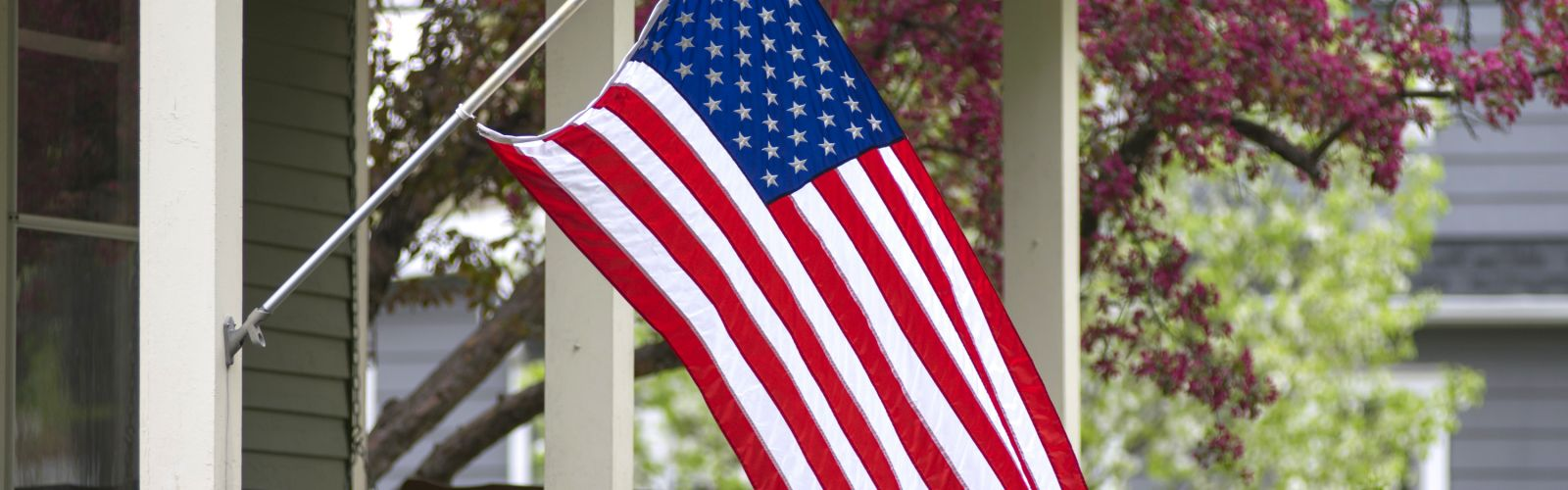 American flag on front of house