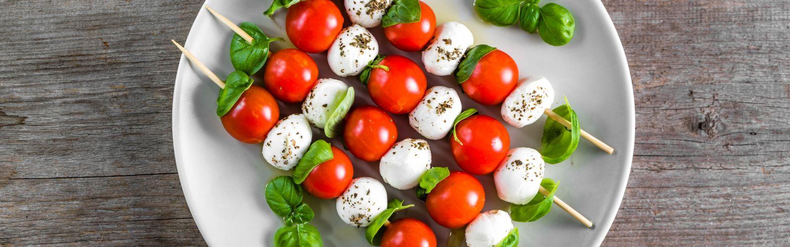 caprese salad on a skewer