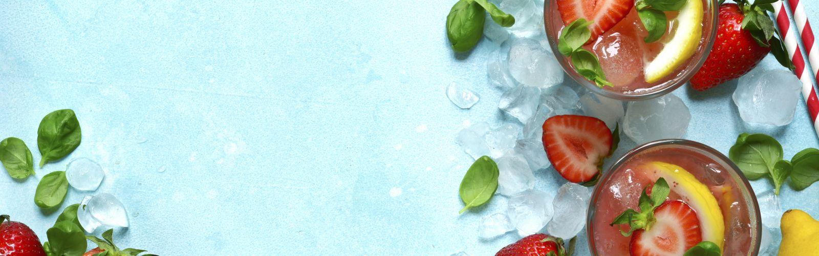 cups of strawberry basil lemonade