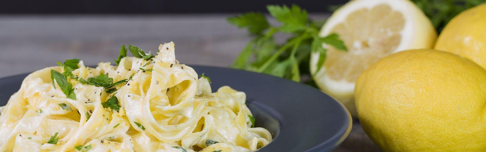 a bowl of lemon herb pasta