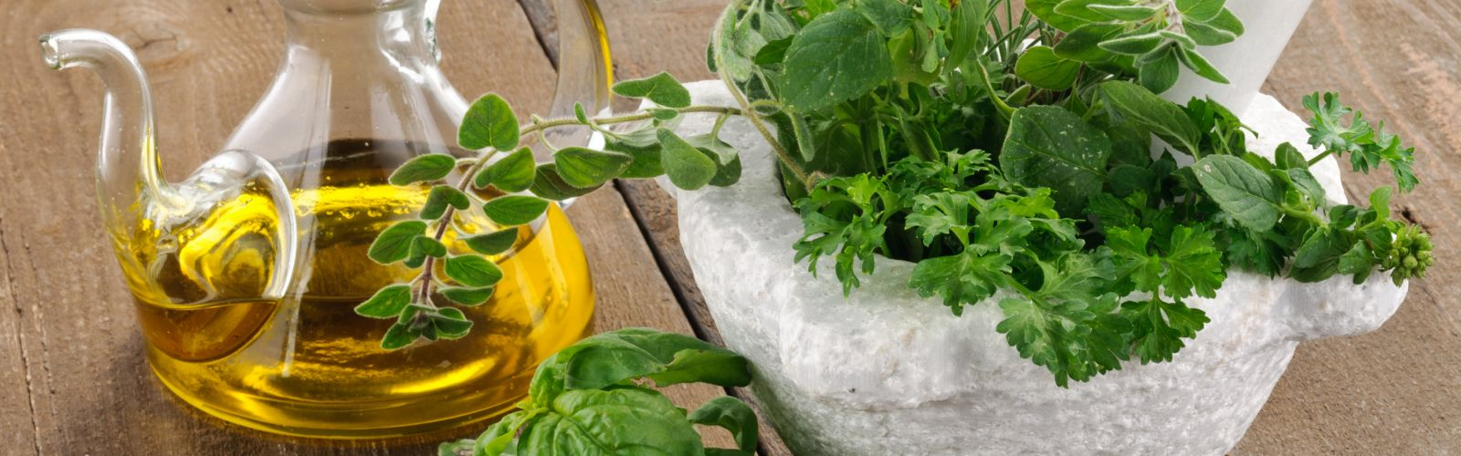 fresh herbs on a table