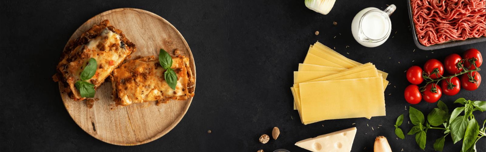 veggie lasagna and ingredients