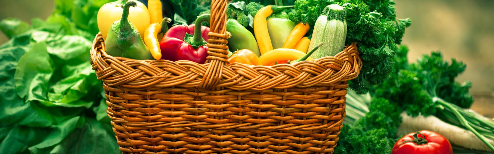 Garden veggies and herbs in a basket