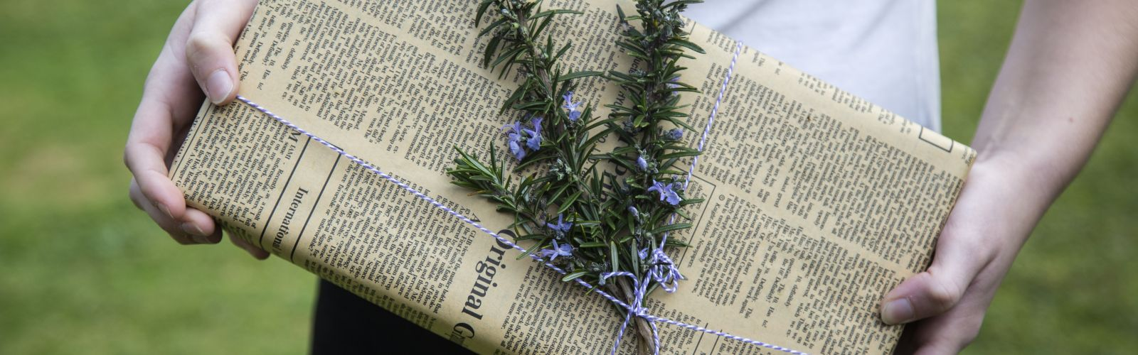 Gift with newspaper gift wrap on springs on rosemary
