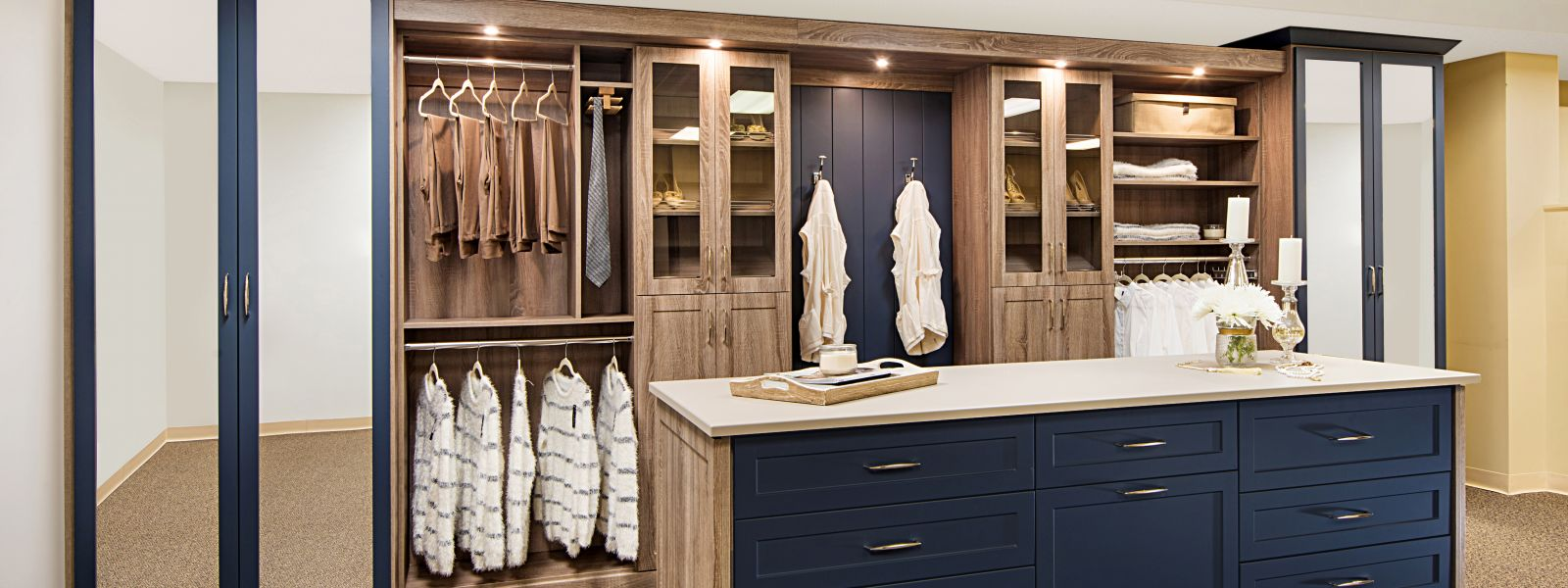 large walk-in closet with island