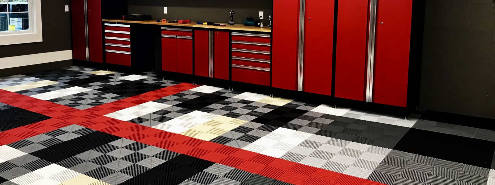 a red and white checkered floor