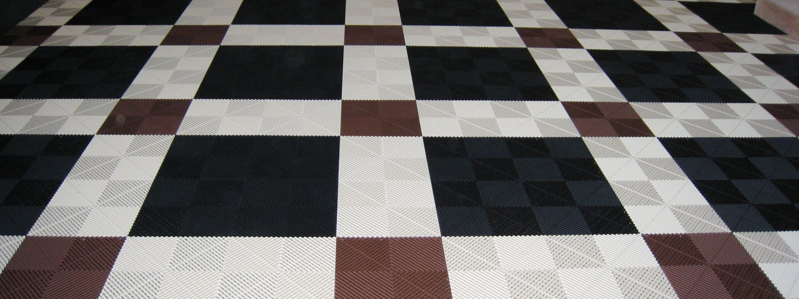 a black and white tile floor