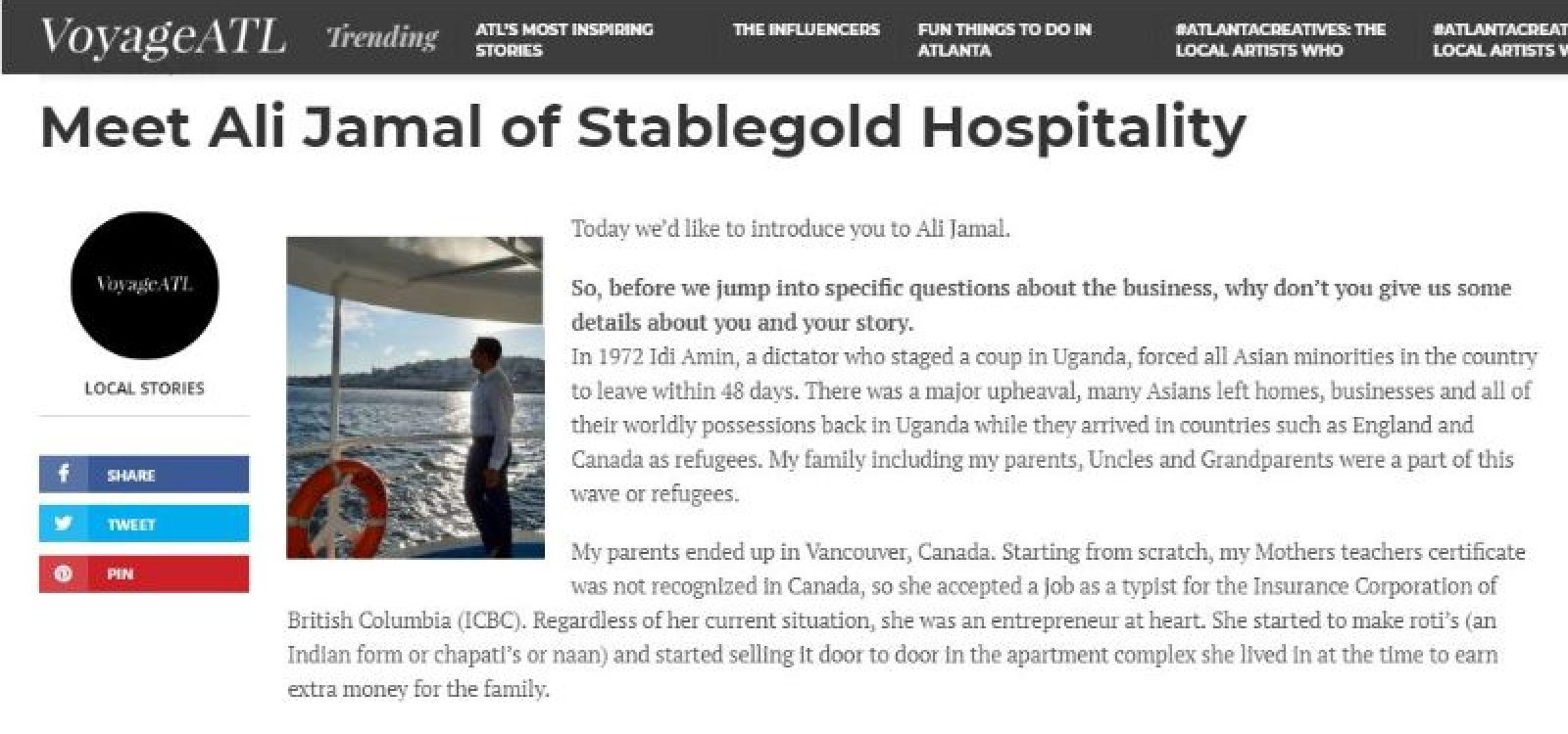 Meet Ali Jamal of Stablegold Hospitality