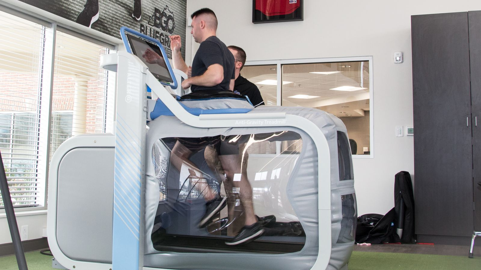 a man on an anti gravity treadmill